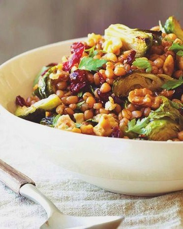 Warm Wheatberries + Roasted Brussels Sprouts + Cranberry ...